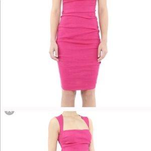 Hot pink Nicole Miller square neck linen dress